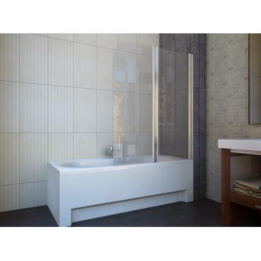 Шторка на ванну двух элемент 1150x1400 chrome clear, купить в Киеве, доставка по Украине